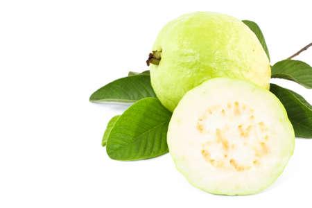 guayaba: Fruto de guayaba en blanco  Foto de archivo