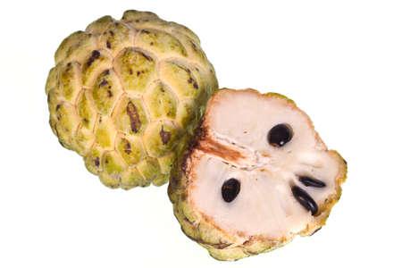 chirimoya: Flan de manzanas en el fondo blanco