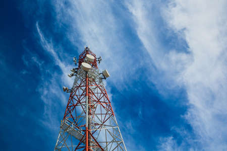 telco: Telecommunication tower and sky blue