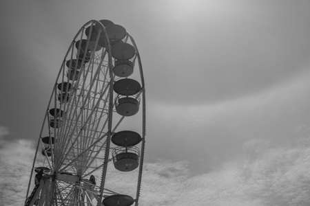 amusement park black and white: black and white ferris wheel