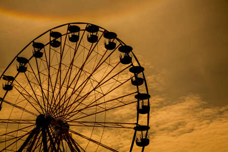 spinning wheel: Ferris wheel processed and sunset