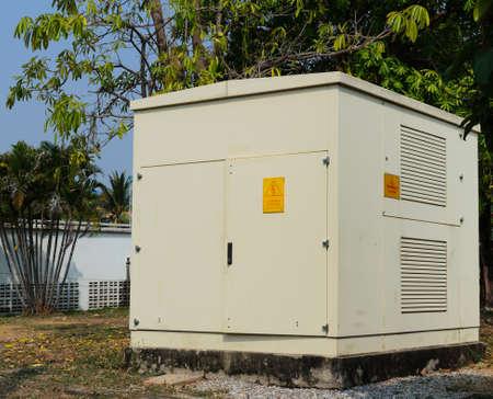 voltage gray: High voltage cabinet gray set on a platform cement.