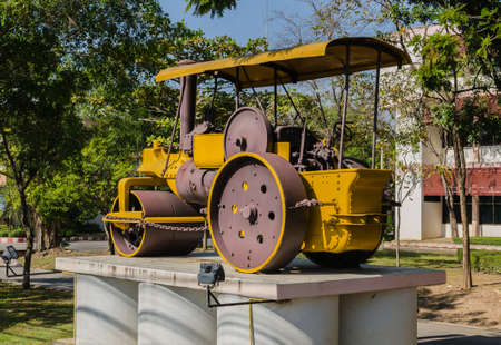 asphalting: Rear view Old Steamroller,Thailand