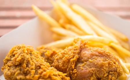 Fried chicken   French fries Stock Photo