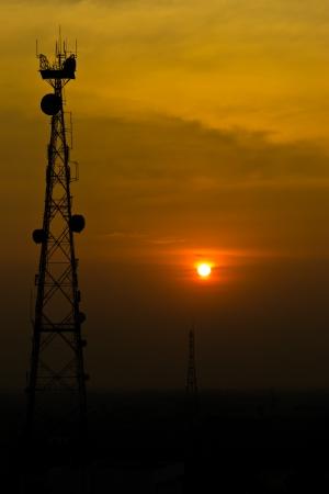 Antenna signal   Sunset Stock Photo
