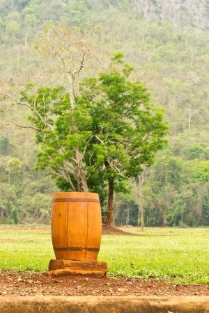 Wood Trash Bin Stock Photo