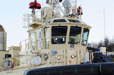 wheelhouse: wheelhouse on a research boat at berth
