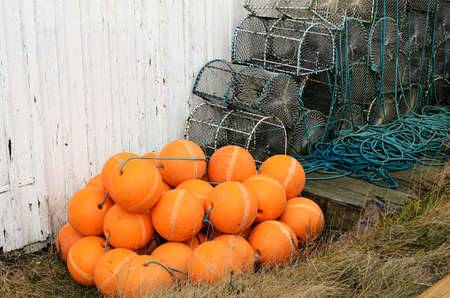 lobster pots: Lobster pots and floats waiting for next year