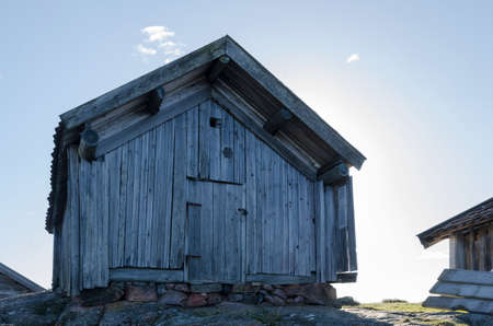 boathouse: a very old boathouse made of wood standing in sweden