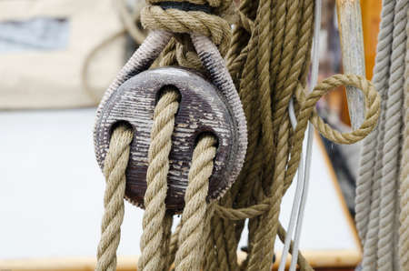 tackle: rope and tackle on one old sailboat made of wood