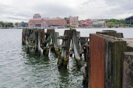 old pier: Old pier in Gothenburg harbour sweden