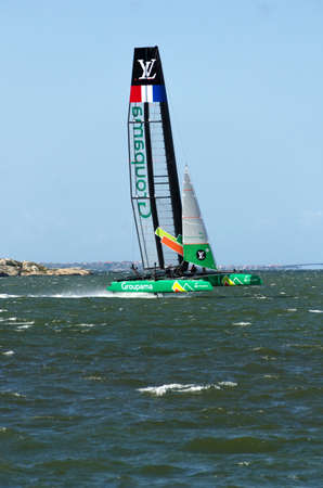 sailingboat: americas cup in sweden one catamaran with great speed
