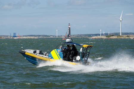 a very fast boat from coastguard sweden out to the sea