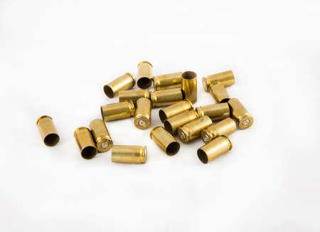 old 9 mm.  ammunition shell on white background