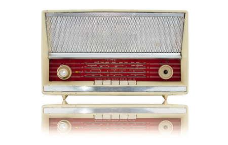 old and vintage radio on white background photo