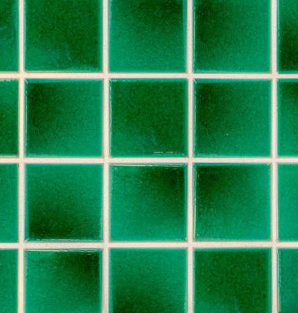 mosaic floor: green earthenware tiles, Mosaic floor Stock Photo