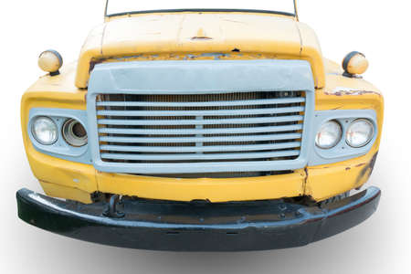mack: front view of old truck  with crack color on white background