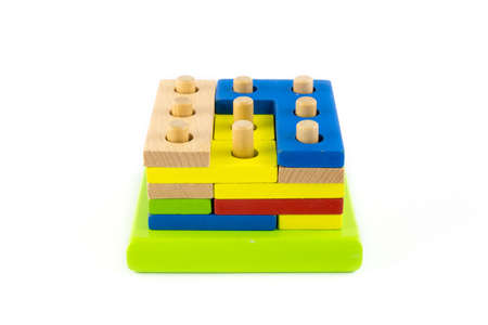 wood block toy with colorful on white background Stock Photo