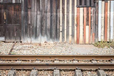 abandoned warehouse: old wood warehouse at beside of railway, abandoned area