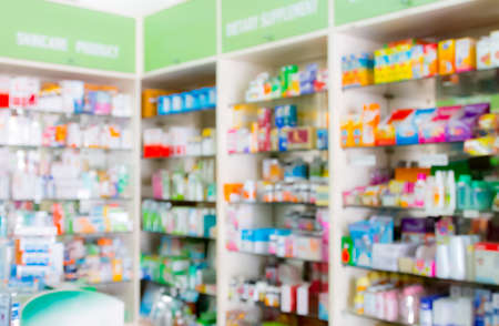 shop: blured, interior of drugstore for background
