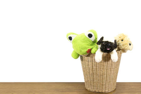 woo: animal dolls in weave rattan basket and try to jump out, wood floor, with clipping path