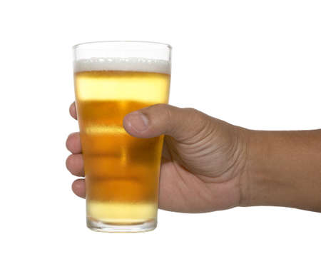 hand holding up a glass of beer over a white background. Variety of beer glass, cheers.