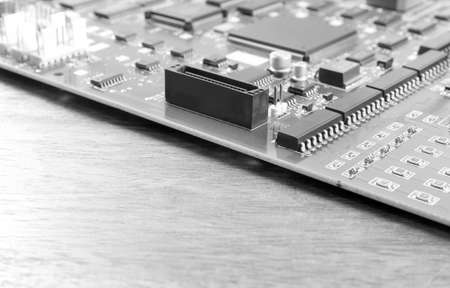 mainboard: mainboard on wood table, black and white tone Stock Photo