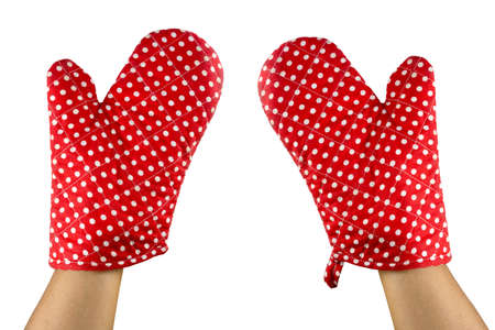 hands wear red oven glove isolated on white background, clipping path Stock fotó