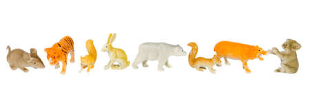 plastic toys: animal plastic toys isolated on white background with clipping path