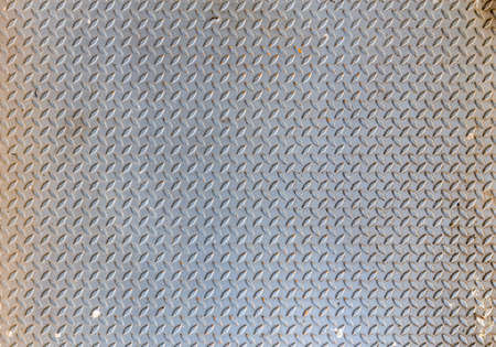 shiny metal background: old and dirty steel checker plate with rust condition, abstract background