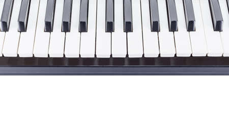 piano closeup: electric piano close-up on white background Stock Photo
