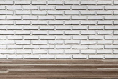 white wood floor: interior wood floor and white brick wall, vintage background