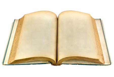 libros abiertos: viejo libro abierto sobre fondo blanco con saturación camino, vista en perspectiva