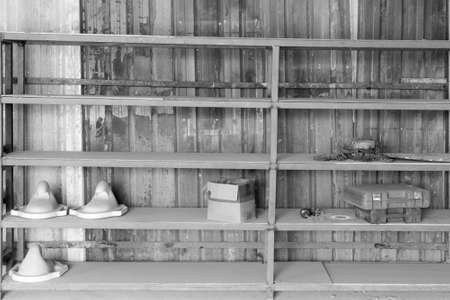 shelve: old shelve black and white, with equipment