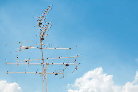 receiver: antenna receiver with cloud and blue sky