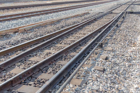 wood railroad: railway road line with bolt and nut on wood railroad sleepers