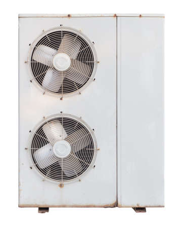 condensing: air condition, old condensing Unit isolated on white background with clipping path