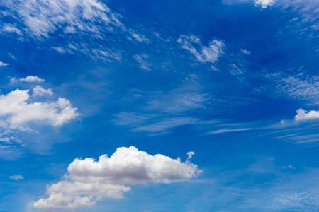 cirrus: Cirrostratus, cirrus,   cumulus clouds on blue sky Stock Photo