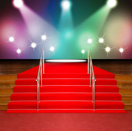 red barrier velvet: red carpet on wood stairs and stainless hand railing with spot light and flash colorful background