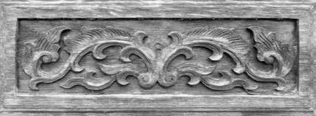 hojas antiguas: frame of old leaves carve wood, black and white tone