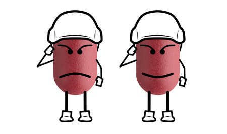 Army doctor red pills on white background with clipping path, smiles and serious face