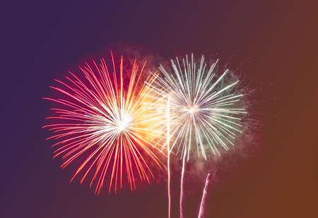 fireworks in retro orange and blue tone