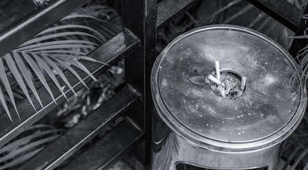 public cigarette ashtray stainless steel, selective focus Stock fotó
