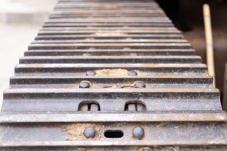 dirty dozer shovel wheel, Crawler belt, construction industry concept background