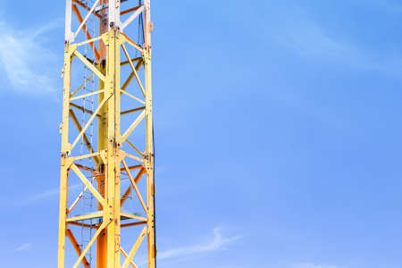 tower crane pole with blue sky construction industry concept background