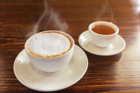 latte coffee with tea cup, selective focus Stok Fotoğraf