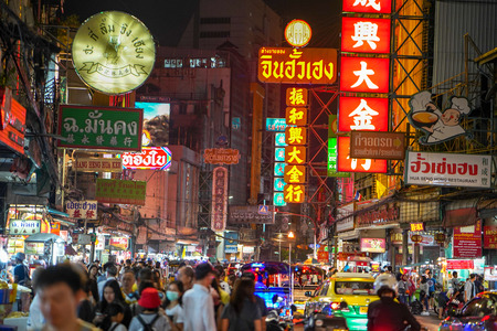 Bangkok, Thailand - August 02, 2018: Night market for vendors on Chinatown (Yaowarat) Road, the main street in Chinatown, a Bangkok landmark and important street for food