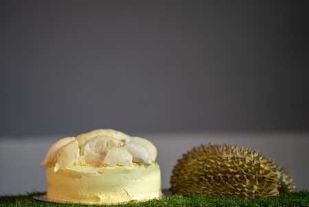 Durian cake and fresh yellow durian, Homemade Bakery in thailand, using as a background or wallpaper Standard-Bild - 107320779