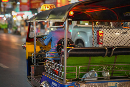 blurred defocused people on thailand street market abstract background