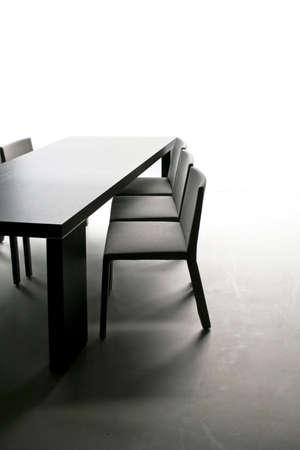 case moderne: Nero tavolo con sedie in sala da pranzo